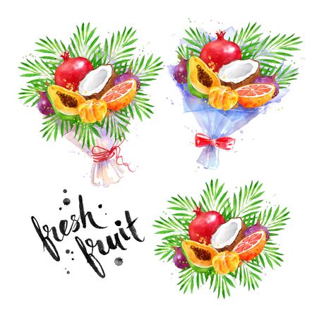 Watercolor illustration of tropical fruit Bouquets