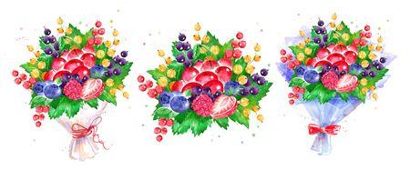 illustration set of fresh berries Bouquet