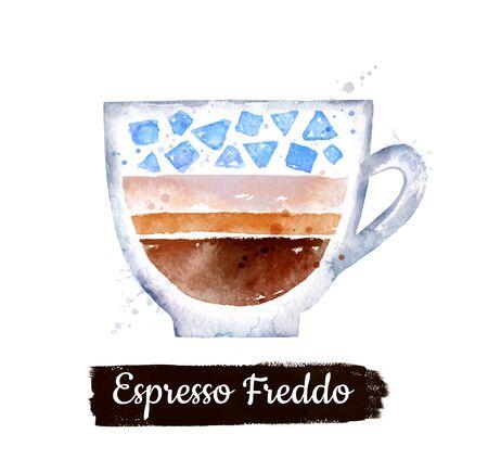 Watercolor illustration of Espresso Freddo coffee