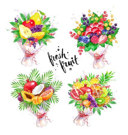 Watercolor set of fresh fruit Bouquet