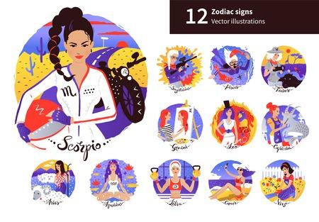 Vector set of Zodiac Signs illustrations