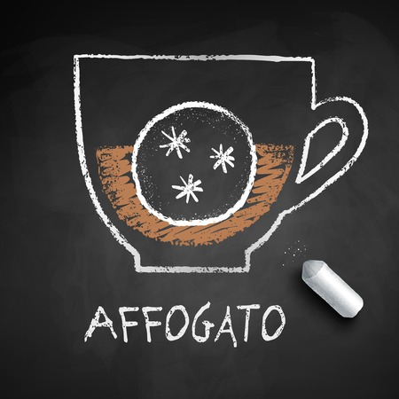 Vector sketch of Affogato coffee on chalkboard background with piece of chalk.