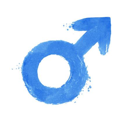 Grunge vector illustration of male gender symbol isolated on white background.