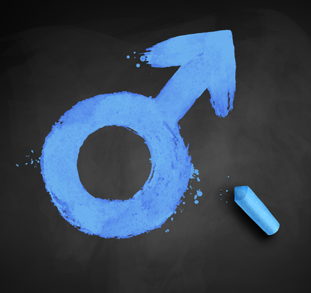 Grunge chalk drawn vector illustration of male gender symbol isolated on blackboard background with piece of chalk.