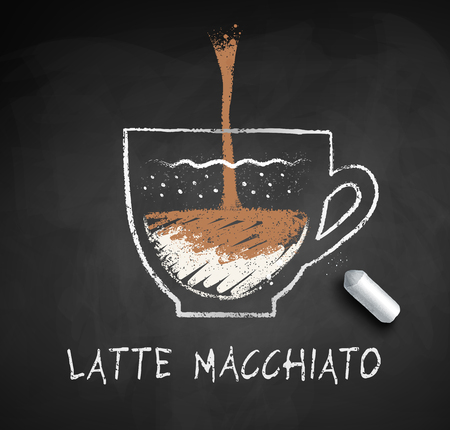 Vector chalk drawn sketch of Latte Macchiato coffee on chalkboard background with piece of chalk.