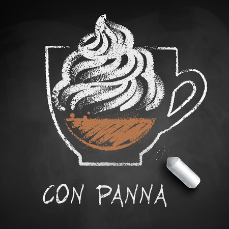 Vector sketch of Con Panna of Vienna coffee on chalkboard background with piece of chalk.