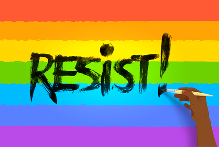 Resist lettering on rainbow background  イラスト・ベクター素材