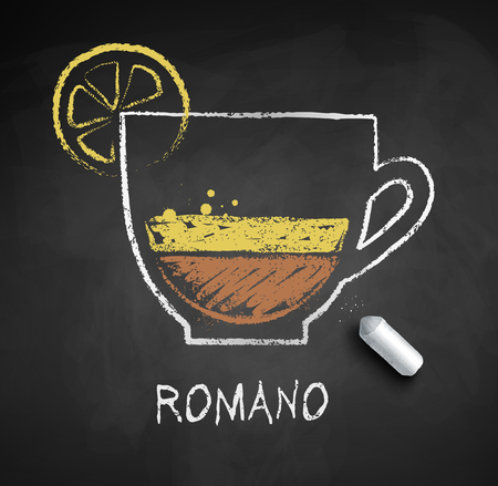 Vector sketch of coffee Romano on chalkboard background with piece of chalk.