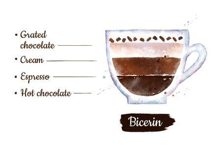 Watercolor illustration of Bicerin coffee Stok Fotoğraf
