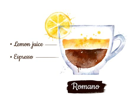 Watercolor side view illustration of Romano coffee
