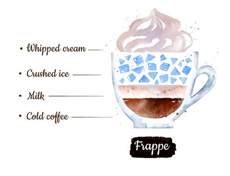 Watercolor side view illustration of Frappe coffee