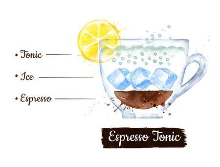 Watercolor illustration of Espresso-tonic coffee