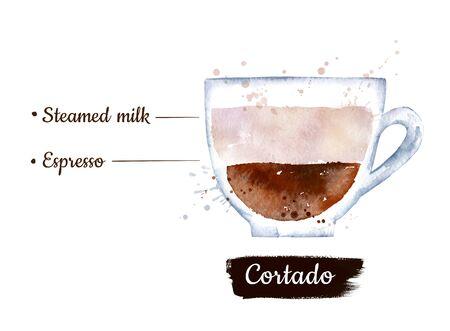 Watercolor side view illustration of Cortado coffee Stok Fotoğraf