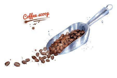Watercolor illustration of metal coffee scoop Stok Fotoğraf