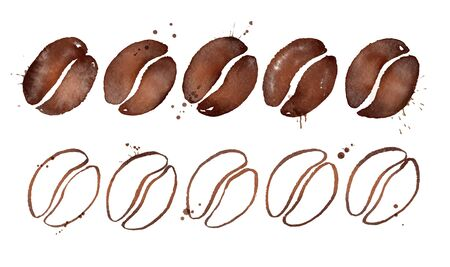 Watercolor illustration of coffee beans