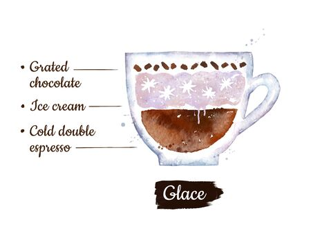 Watercolor side view illustration of Glace coffee