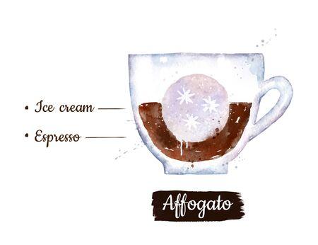 Watercolor illustration of Affogato coffee