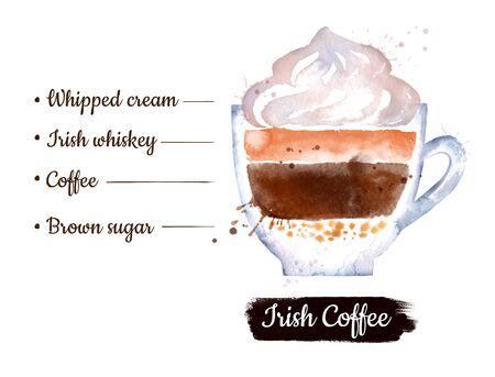Watercolor illustration of Irish coffee Stok Fotoğraf