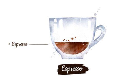 Watercolor side view illustration of Espresso coffee Stok Fotoğraf