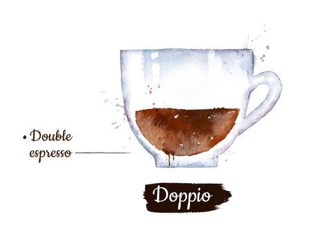 Watercolor illustration of Doppio coffee
