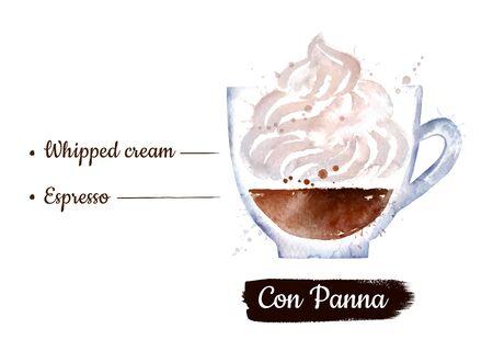 Watercolor illustration of Con Panna coffee Stok Fotoğraf