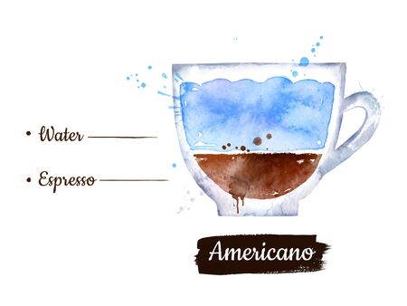 Illustration of Americano coffee