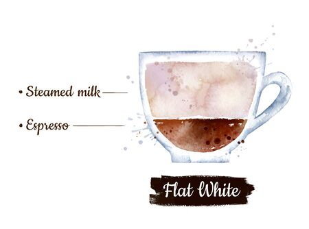 Watercolor side view illustration of Flat White coffee