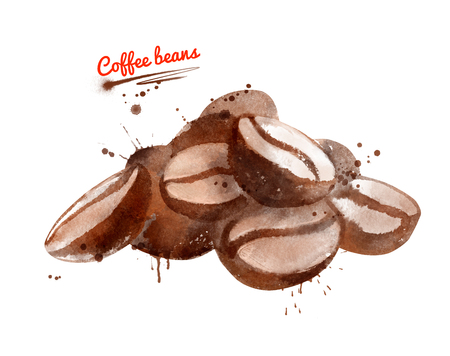 Watercolor illustration of pile of coffee beans