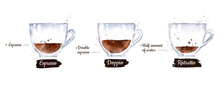 Watercolor set of black coffee types