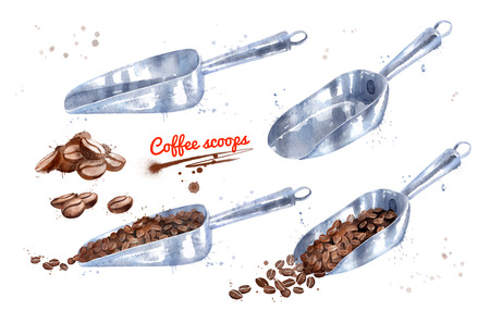 Watercolor illustration set of coffee scoops Imagens