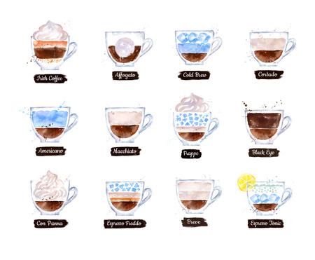 Illustration set of Coffee types