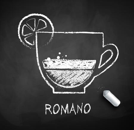 Bosquejo del vector blanco y negro de café Romano sobre fondo de pizarra con tiza.