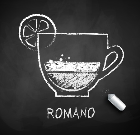 Vektorschwarzweiss-Skizze des Kaffees Romano auf Tafelhintergrund mit Stück Kreide.