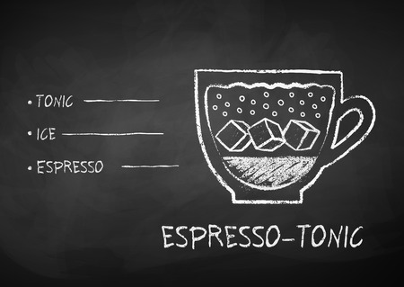 Vector black and white chalk drawn sketch of Espresso-Tonic coffee recipe on chalkboard background. Ilustração