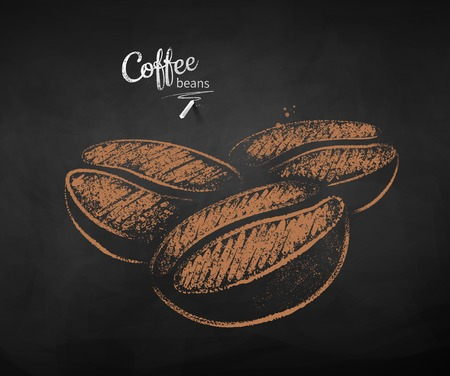 Vector chalk drawn sketch of three coffee beans on chalkboard background.