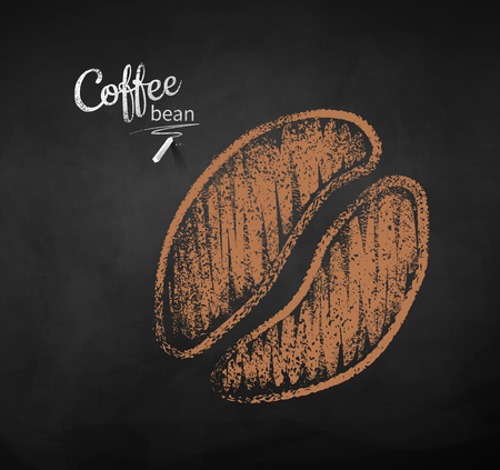 Vector chalk drawn sketch of one coffee bean silhouette on chalkboard background.