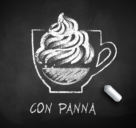 Vector black and white sketch of Con Panna of Vienna coffee on chalkboard background with piece of chalk. Illustration