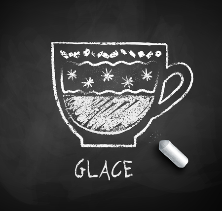 Vector black and white sketch of Glace coffee on chalkboard background with piece of chalk. Illustration