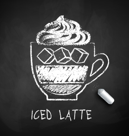 Vector black and white sketch of Iced Latte coffee on chalkboard background with piece of chalk.