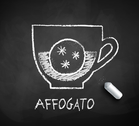 Vector black and white sketch of Affogato coffee on chalkboard background with piece of chalk. Illustration