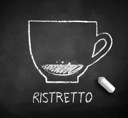 Vector black and white sketch of Ristretto coffee with piece of chalk on chalkboard background. Illustration