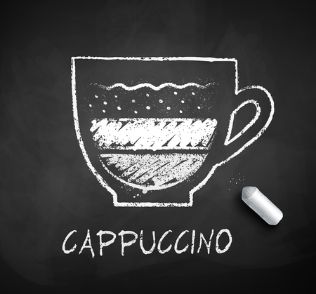Vector black and white sketch of cappuccino coffee with piece of chalk on chalkboard background.