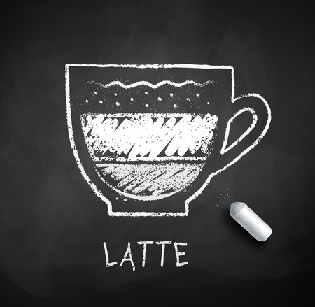 Vector black and white sketch of Latte coffee on chalkboard background with piece of chalk.