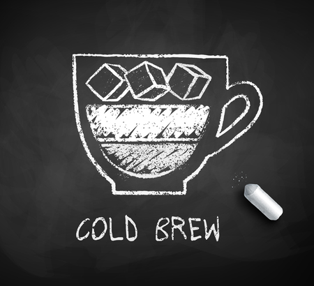 Vector black and white sketch of Cold Brew coffee on chalkboard background with piece of chalk.