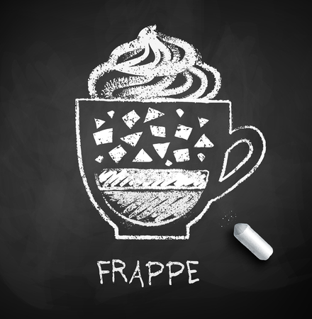 Vector black and white sketch of Frappe coffee on chalkboard background with piece of chalk.