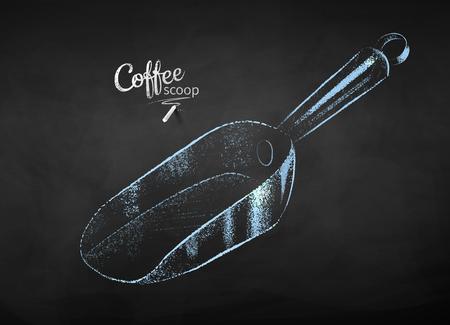 Vector chalk drawn sketch of metal coffee scoop on chalkboard background. Illustration