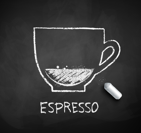 Chalk drawn sketch of Espresso coffee cup