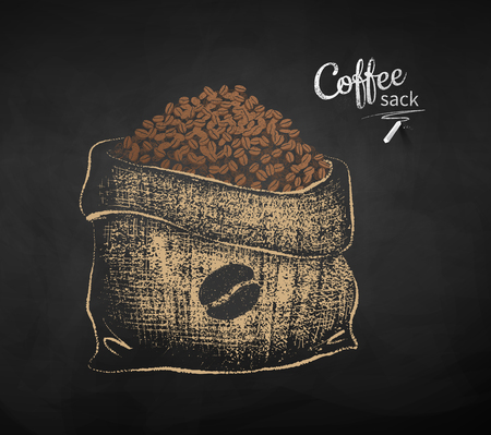 Vector chalk drawn sketch of open sack with coffee beans on chalkboard background. Illustration