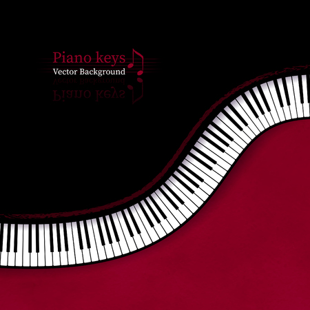 Vector illustration of background with top view Piano keys in red and black colors. Stock Illustratie