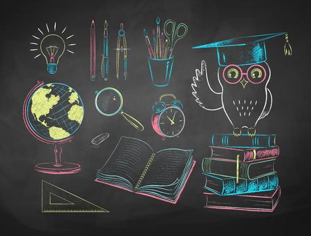 Ilustraciones de elementos educativos dibujados con tiza
